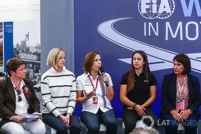 Susie Wolff, Claire Williams, Deputy Team Principal, Williams, Marta Garcia, Renault Sport F1 Team Sport Academy, Michelle Mouton, at a Women in Motorsport Press Conference