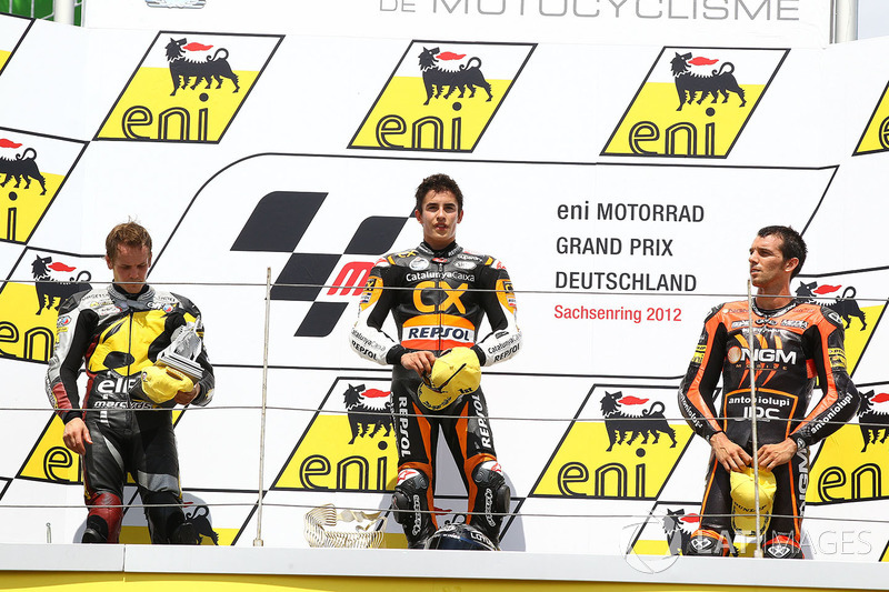 Podium: winner Marc Marquez, second place Stefan Bradl, third place Alex de Angelis