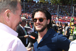 Martin Brundle, Sky TV talks with Kit Harington, Actor
