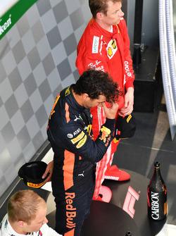 Daniel Ricciardo, Red Bull Racing and Kimi Raikkonen, Ferrari on the podium
