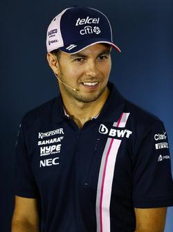 Sergio Perez, Force India, in the Press conference