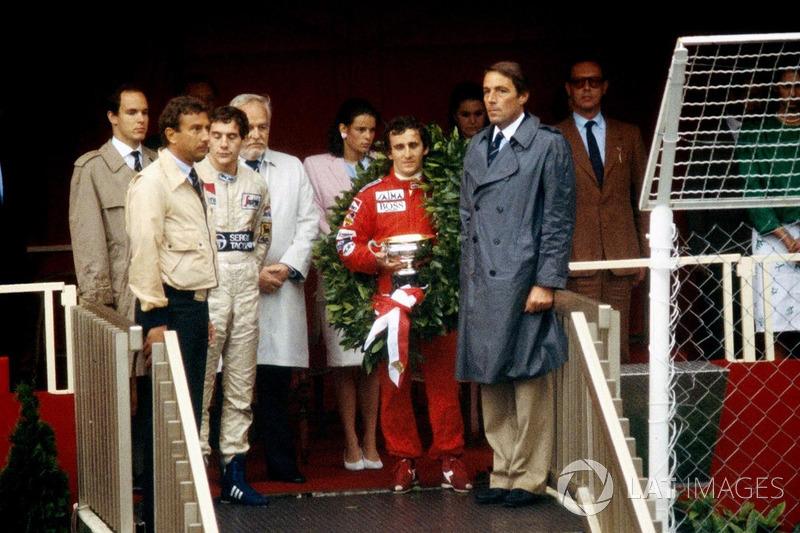 Podium: winner Alain Prost, McLaren, second place Ayrton Senna, Toleman