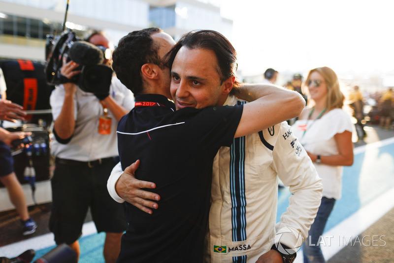 Nicolas Jean Todt, President, FIA. embraces Felipe Massa, Williams, ahead of the drivers final race in F1