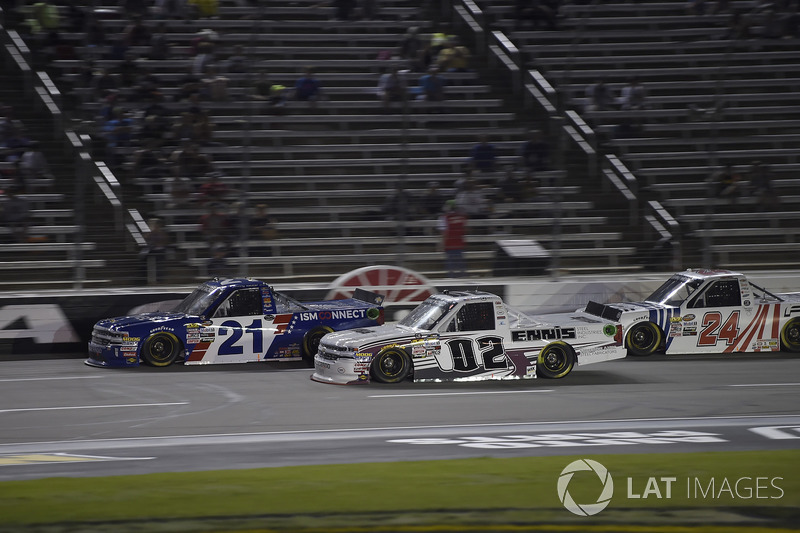 Johnny Sauter, GMS Racing, Chevrolet Silverado ISM Connect, Austin Hill, Young's Motorsports, Chevrolet Silverado United Rentals, Justin Haley, GMS Racing, Chevrolet Silverado Fraternal Order Of Eagles