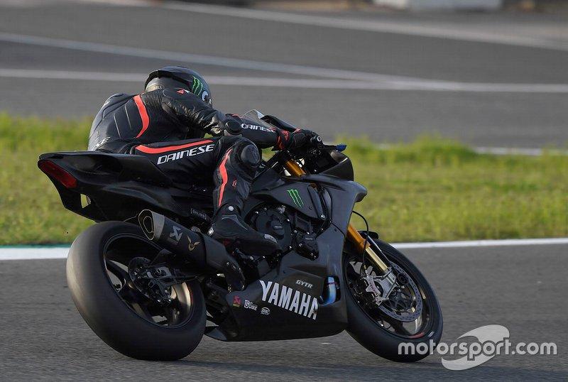 Lewis Hamilton testing the Yamaha Superbike