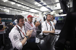 Toto Wolff, Executive Director, Mercedes AMG, and Niki Lauda, Non-Executive Chairman, Mercedes AMG, applaud the efforts of their drivers in Qualifying
