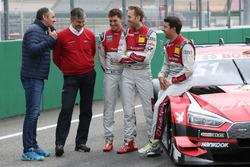 Gerhard Berger, ITR-Chef; Dieter Gass, Audi-Sportchef; Loic Duval, Audi Sport Team Phoenix, Audi RS 5 DTM; René Rast, Audi Sport Team Rosberg, Audi RS 5 DTM; René Rast, Audi Sport Team Rosberg, Audi RS 5 DTM