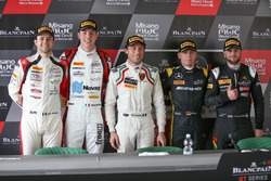 Jules Gounon, Raffaele Marciello, Akka ASP, Polesitter Marco Mapelli, Attempto Racing, Maximilian Buhk, Mercedes-AMG Team HTP Motorsport and Lewis Williamson, Strakka Racing