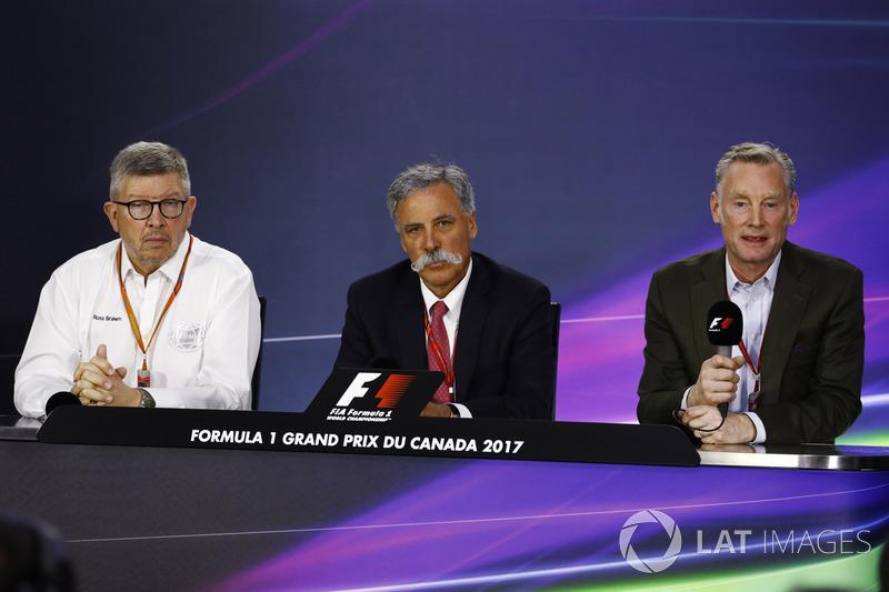 Ross Brawn, Formel-1-Motorsportchef; Chase Carey, Formel-1-Chef; Sean Bratches, Formel-1-Marketingchef
