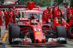 Sebastian Vettel, Ferrari makes a practice pitstop