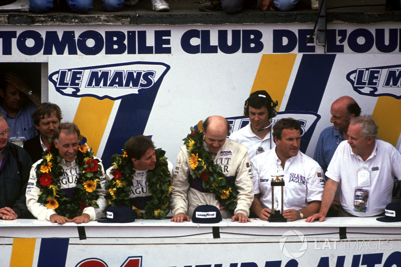 Podium: Price Cobb, Martin Brundle, John Nielsen and Tom Walkinshaw, Jaguar