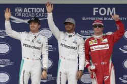 Qualifying top three in parc ferme (L to R): Nico Rosberg, Mercedes AMG F1, second; Lewis Hamilton, Mercedes AMG F1, pole position; Kimi Raikkonen, Ferrari, third