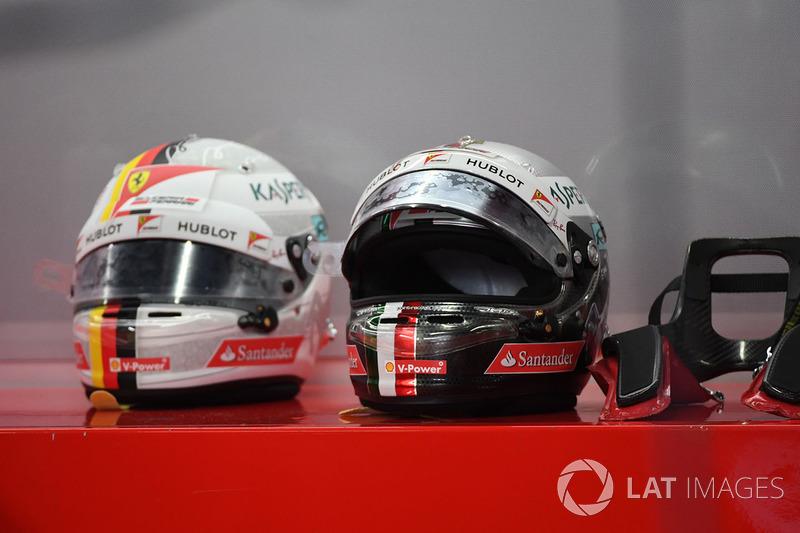 Helm dan perangkat HANS Sebastian Vettel, Ferrari