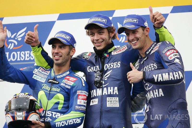 2005: 1. Valentino Rossi, 2. Marco Melandri, 3. Colin Edwards
