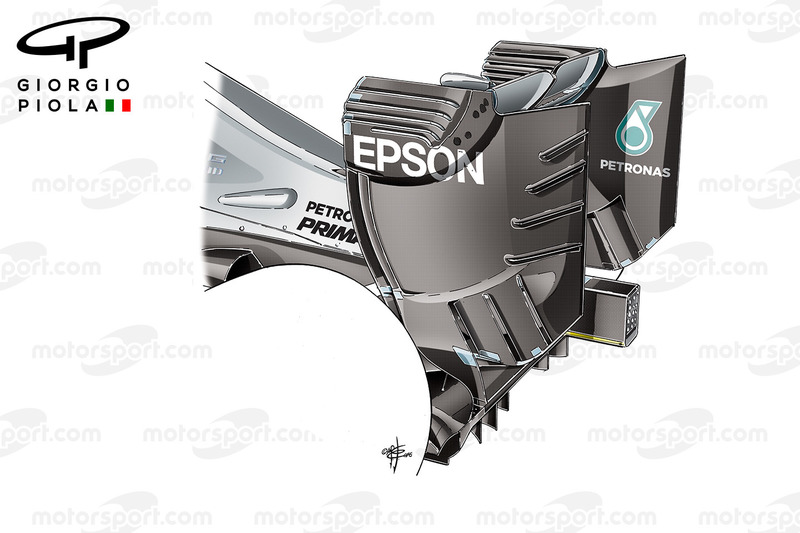 Mercedes W07 rear wing, Hungarian GP
