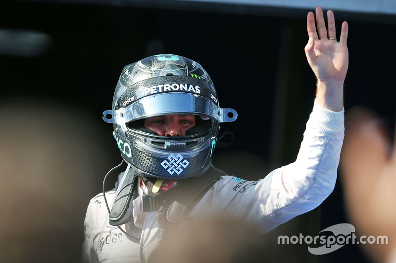 Third place Nico Rosberg, Mercedes AMG F1 celebrates his third position in parc ferme