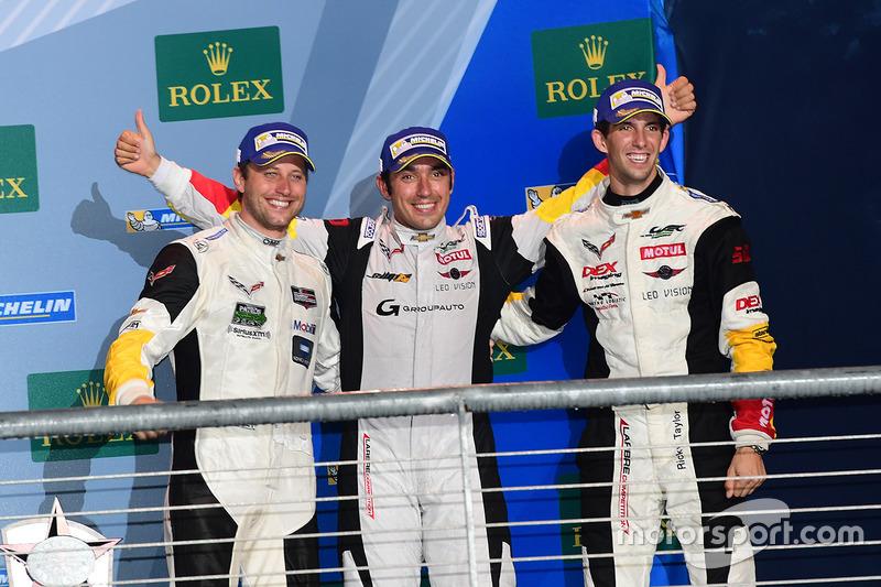 LM GTE Am podium: third place Ricky Taylor, Lars Viljoen, Pierre Ragues, Larbre Competition
