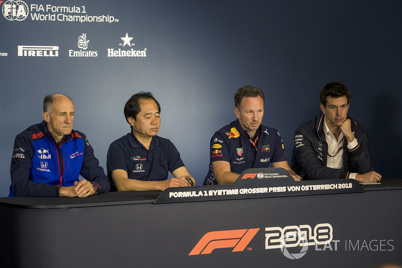Franz Tost, Scuderia Toro Rosso Team Principal, Toyoharu Tanabe, Honda F1 Technical Director, Christian Horner, Red Bull Racing Team Principal, Toto Wolff, Mercedes AMG F1 Director of Motorsport
