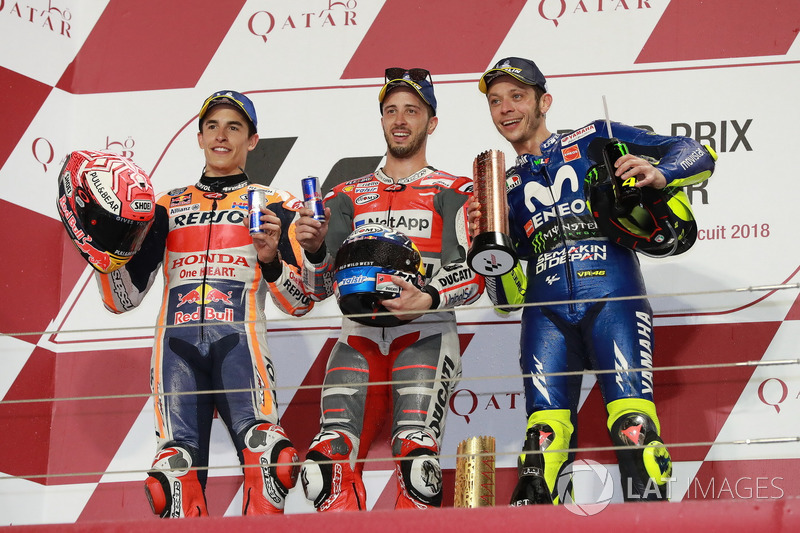 Podium: second place Marc Marquez, Repsol Honda Team, Race winner Andrea Dovizioso, Ducati Team Vthird place alentino Rossi, Yamaha Factory Racing, Qatar MotoGP 2018