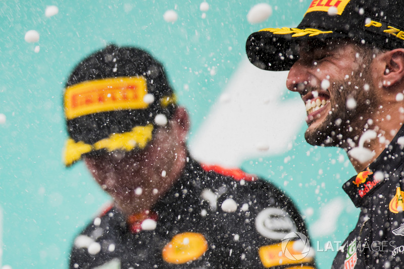 Max Verstappen, Red Bull Racing, race winner, third place Daniel Ricciardo, Red Bull Racing, spray Champagne on the podium