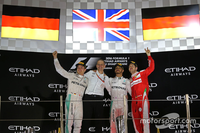 Race winner Lewis Hamilton, Mercedes AMG F1, second place Nico Rosberg, Mercedes AMG F1 , third plac