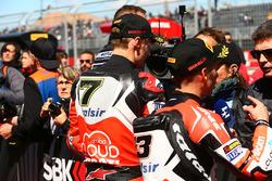 Ganador de la carrera Chaz Davies, Ducati Team, tercer lugar Marco Melandri, Ducati Team