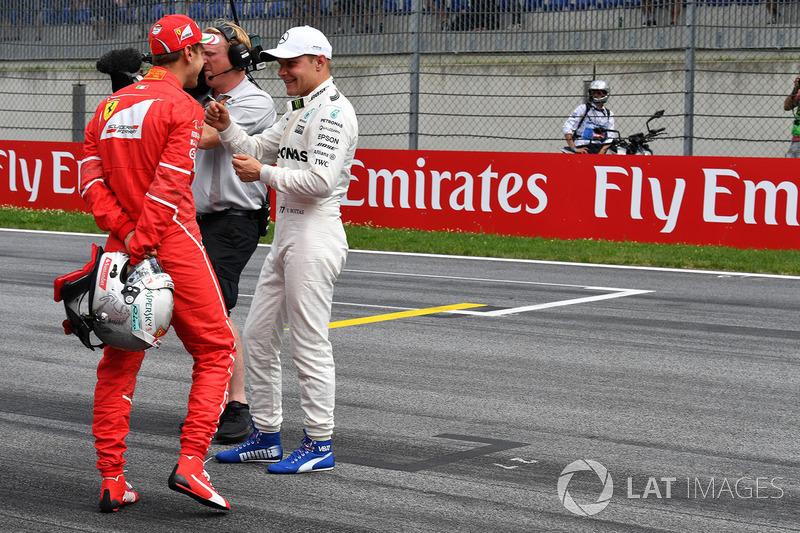 Володар поул-позиції Валттері Боттас, Mercedes AMG F1, друге місце Себастьян Феттель, Ferrari