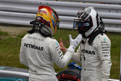 Pole sitter Lewis Hamilton, Mercedes AMG F1 and Valtteri Bottas, Mercedes AMG F1 celebrate in parc ferme