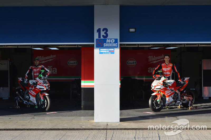 Lorenzo Savadori, Milwaukee Aprilia World Superbike Team, Eugene Laverty, Milwaukee Aprilia World Superbike Team