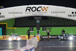 Juan Pablo Montoya, races Travis Pastrana, driving the Radical SR3 RSX