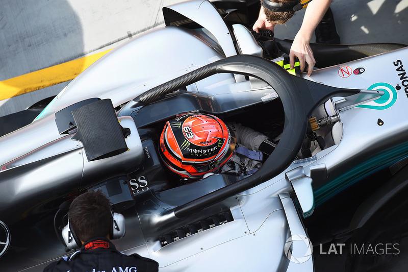 Обновленная система Halo в 2017 году – Mercedes F1 W08, Джордж Расселл