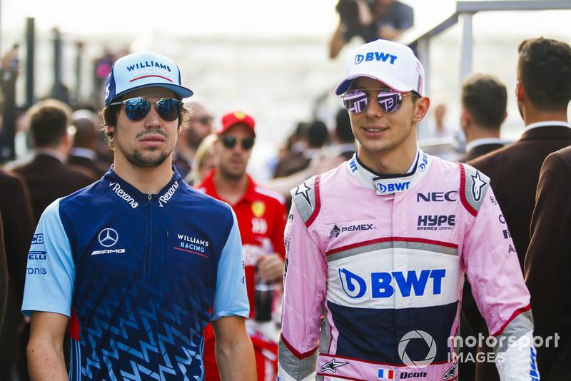 Lance Stroll, Williams Racing y Esteban Ocon, Racing Point Force India