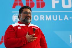 Dilbagh Gill, CEO, Team Principal, Mahindra Racing, on the podium