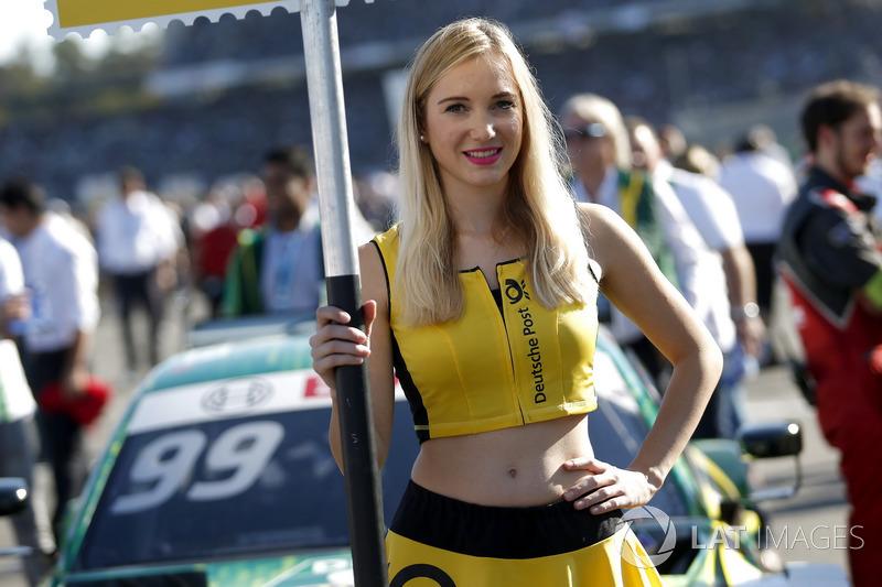 Grid girl of Mike Rockenfeller, Audi Sport Team Phoenix, Audi RS 5 DTM