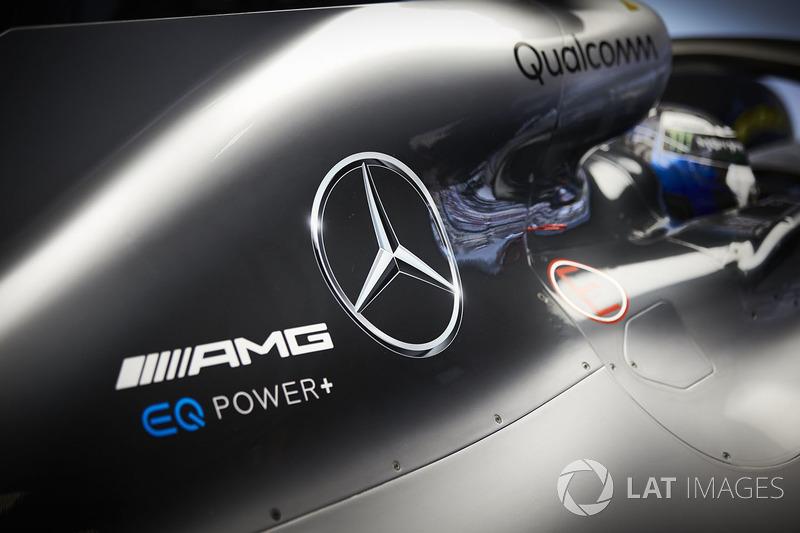 Logos on the car of Valtteri Bottas, Mercedes AMG F1 W09