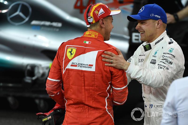 Pole Valtteri Bottas, Mercedes AMG F1 ve Sebastian Vettel, Ferrari