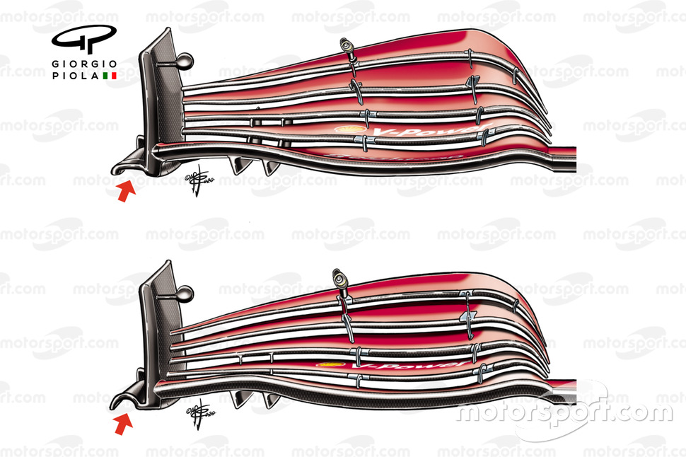 Ferrari SF1000 front wing comparison