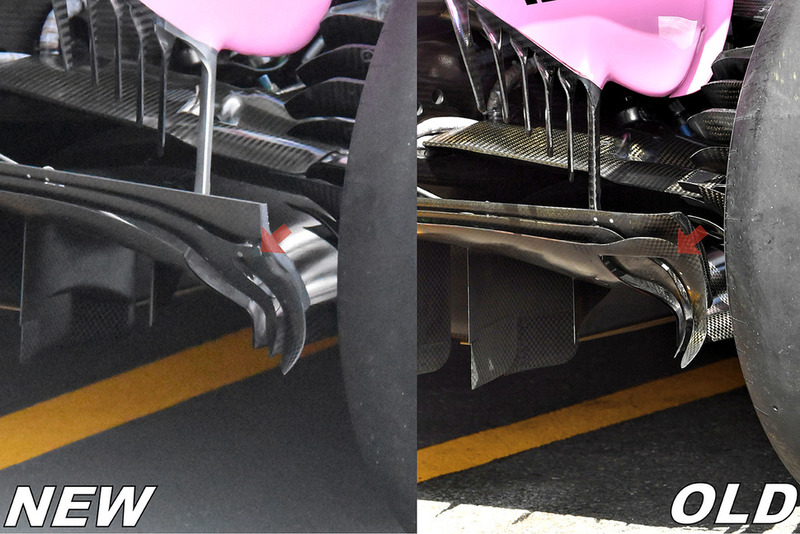 Force India VJM11 diffuser comparison