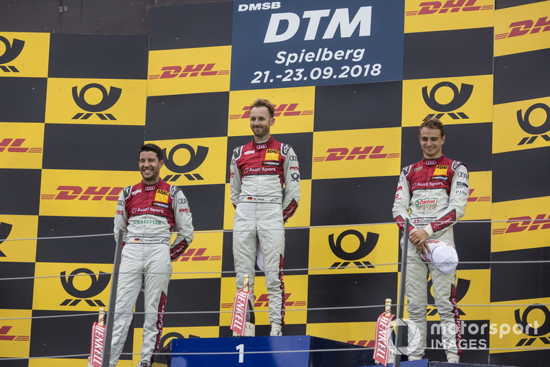 Podium: Race winner René Rast, Audi Sport Team Rosberg, second place Mike Rockenfeller, Audi Sport Team Phoenix and third place Nico Müller, Audi Sport Team Abt Sportsline