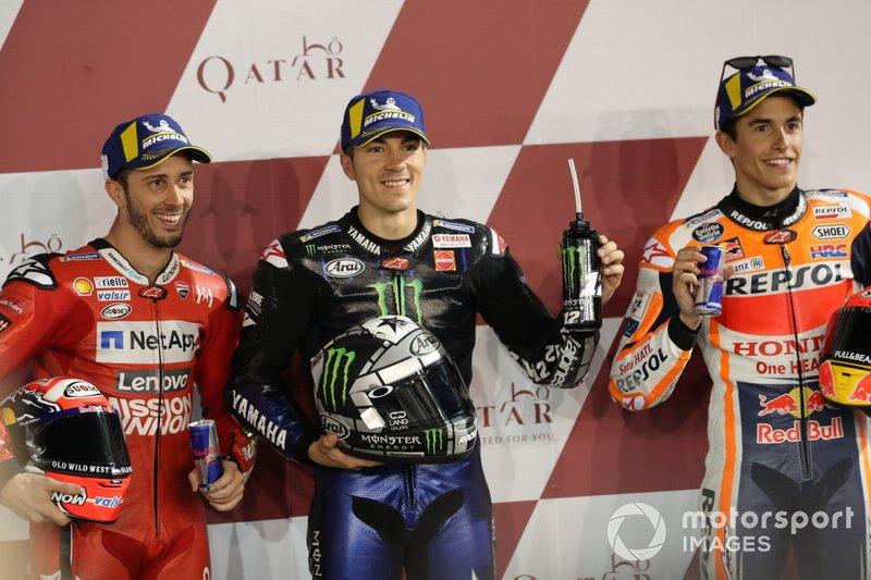 Top 3 después de la clasificación, Andrea Dovizioso, Ducati Team, Maverick Viñales, Yamaha Factory Racing, Marc Marquez, Repsol Honda Team