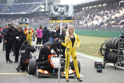 Grid girl of Anthoine Hubert, Van Amersfoort Racing Dallara F312 - Mercedes-Benz