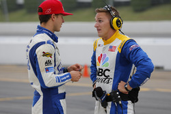 Trevor Bayne, Roush Fenway Racing Ford with NBC presenter Parker Kligermann