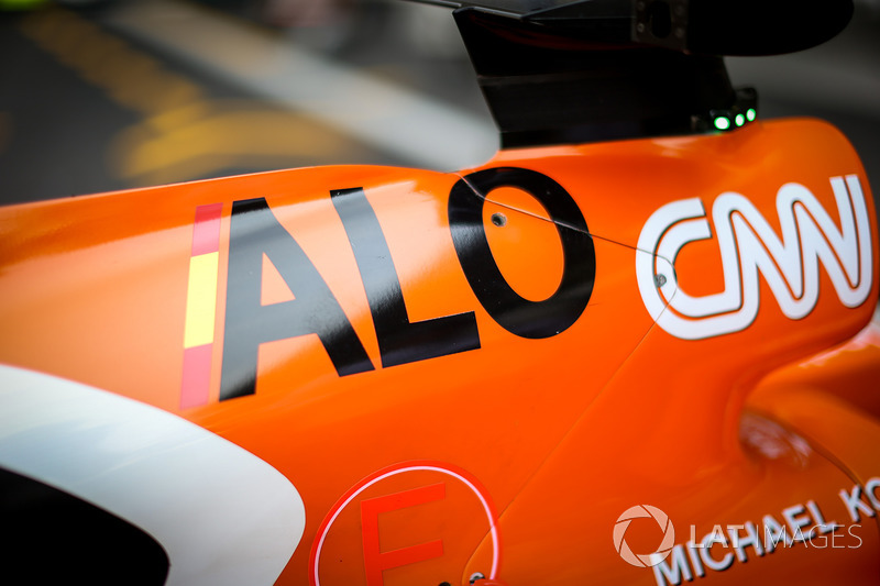El detalle de la carrocería de Fernando Alonso, McLaren MCL32