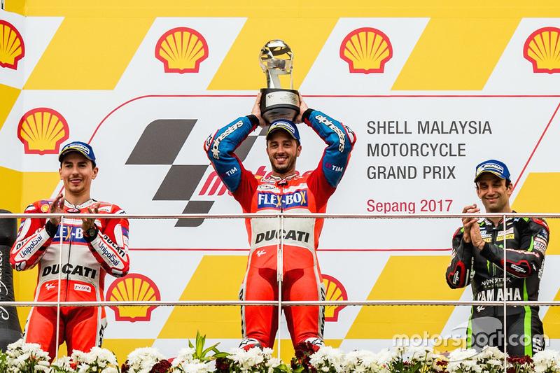 O pódio do GP da Malásia de 2017.