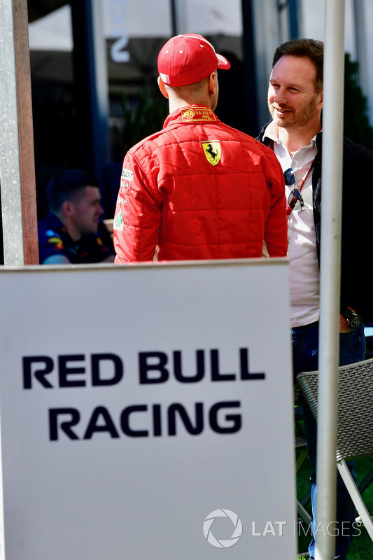 Sebastian Vettel, Ferrari and Christian Horner, Red Bull Racing Team Principal