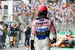 Sergio Perez, Force India, in Parc Ferme after Qualifying