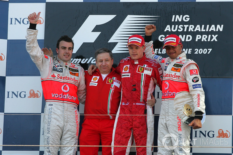 2007: 1. Kimi Räikkönen, 2. Fernando Alonso, 3. Lewis Hamilton