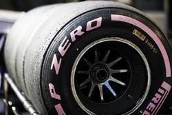 Pink side-walled Pirelli hyper soft tyre detail