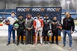 Karl Massad, Ahmed Bin Khanen, Prince Khaled Al Faisal, President of the Motor Federation Of Saudi Arabia, Khalid Al-Qassimi, Khaled Al Qubaisi, Mansour Chebli, and Fredrik Johnsson of ROC