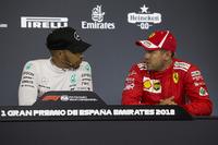 Lewis Hamilton, Mercedes-AMG F1 and Sebastian Vettel, Ferrari in the Press Conference